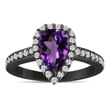 1.65 Carat Pear Shaped Amethyst Engagement Ring, Vintage Style 14k Black Gold Unique Handmade Certified