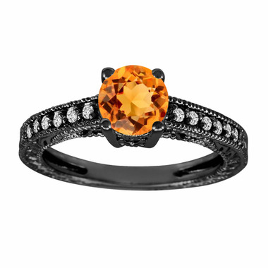 Citrine & Diamond Engagement Ring, Citrine Wedding Ring, 14K Black Gold 1.04 Carat Antique Vintage Style Engraved Handmade Unique