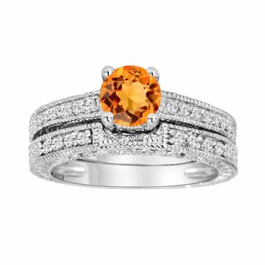 Citrine Engagement Ring Set, Citrine & Diamonds Wedding Ring Sets, 14K White Gold 1.16 Carat Antique Vintage Style Engraved Handmade Unique