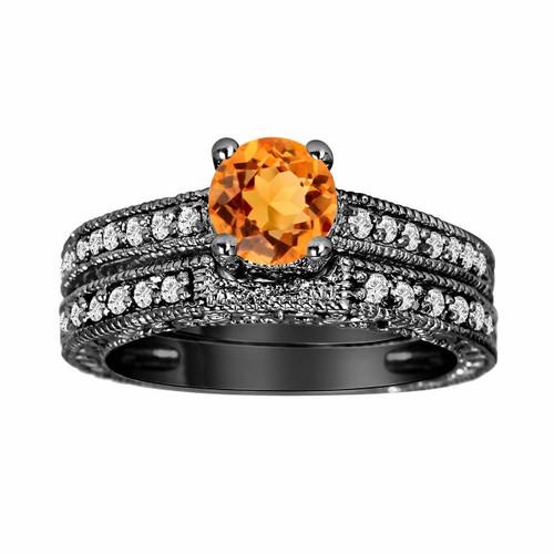 1.16 Carat Citrine Engagement Rings Set, Citrine & Diamonds Wedding Ring Sets, 14K Black Gold Antique Vintage Style Engraved Handmade Unique