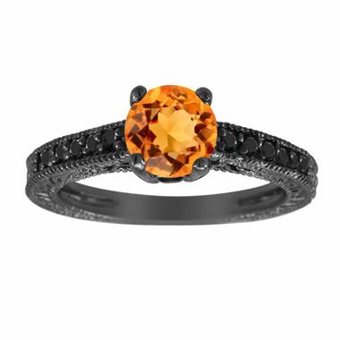 Citrine & Black Diamond Engagement Ring, Citrine Wedding Ring, 14K Black Gold 1.14 Carat Antique Vintage Style Engraved Handmade Unique