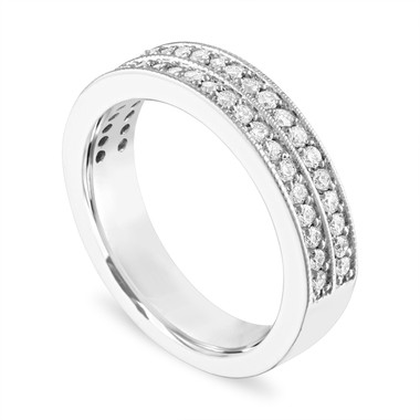 Diamond Wedding Ring 18K White Gold, Half Eternity Diamonds Wedding Band Two Row 4 mm 0.45 Carat Handmade