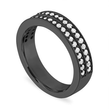 Diamond Wedding Ring 18K Black Gold, Half Eternity Diamonds Wedding Band, Two Row 4 mm 0.45 Carat Handmade