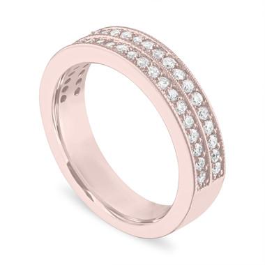 Diamond Wedding Ring 18K Rose Gold, Half Eternity Diamonds Wedding Band, Two Row 4 mm 0.45 Carat Handmade