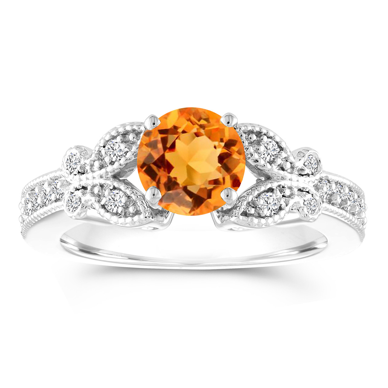 1 18 Carat Citrine Engagement Ring, Citrine & Diamonds Butterfly Ring, 14K  White Gold Handmade Unique