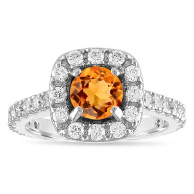1.80 Carat Citrine Engagement Ring, Halo Engagement Ring, 14K White Gold Pave Certified Handmade Unique