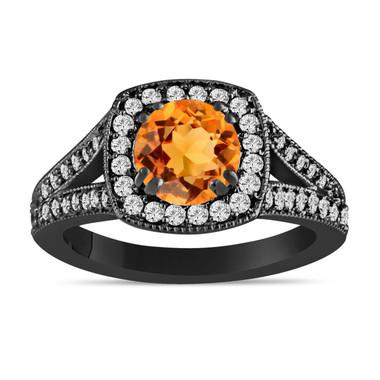 Vintage Citrine Engagement Ring, Halo Engagement Ring, 1.46 Carat 14K Black Gold Pave Certified Handmade Unique