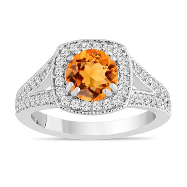 1.46 Carat Citrine and Diamond Engagement Ring, Halo Engagement Ring, 14K White Gold Pave Certified Handmade Unique