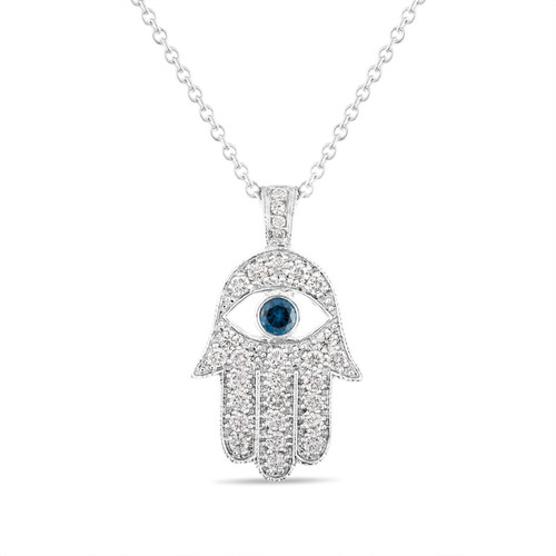 1 Carat Diamond Hamsa Pendant Necklace, 1 Inch Hamsa Pendant, 14K White Gold Unique Handmade Pave Set
