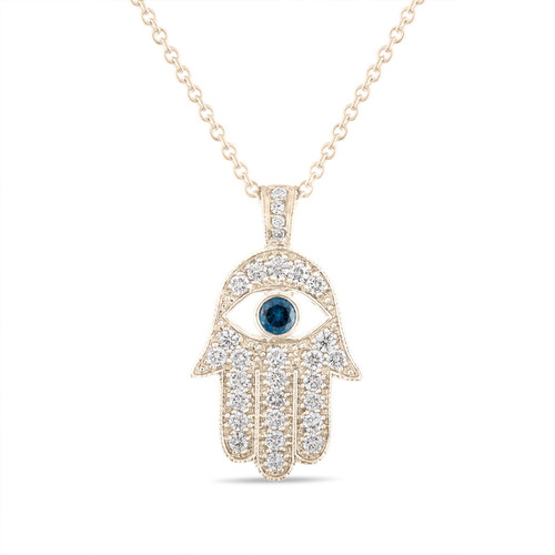 1 Carat Diamond Hamsa Pendant Necklace, 1 Inch Hamsa Pendant, Hand of GOD Pendant Necklace, 14K Yellow Gold Unique Handmade Pave Set