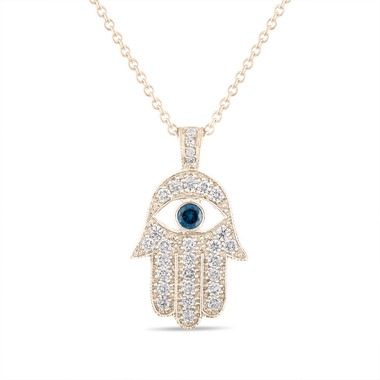 1 Carat Diamond Hamsa Pendant Necklace, 1 Inch Hamsa Pendant, Hand of GOD Pendant Necklace, 14K Yellow Gold Unique Handmade Pave Set