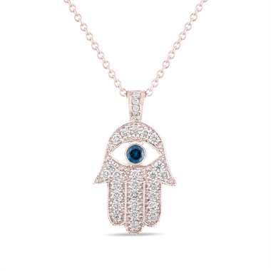 Rose Gold Hamsa Diamond Pendant Necklace, 1.00 Carat Hamsa Pendant, 1 Inch Hamsa Necklace, Evil Eye Pendant, Unique Handmade Pave Set