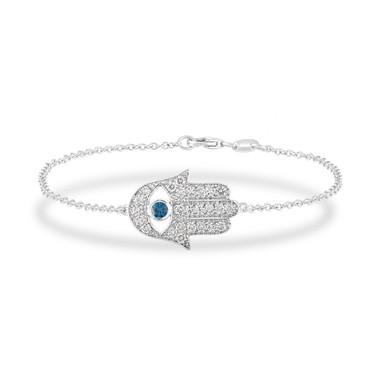 0.93 Carat Diamond Hamsa Bracelet,  14k White Gold Hamsa Bracelet, Blue Diamond Evil Eye Bracelet, Unique Handmade