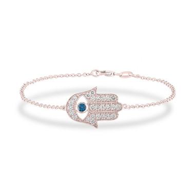 0.93 Carat Diamond Hamsa Bracelet, Rose Gold Hamsa Bracelet, Blue Diamond Evil Eye Bracelet, Unique Handmade