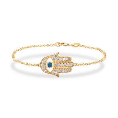 Hamas Bracelet 14K Yellow Gold, Diamond Hamsa Bracelet, 0.93 Carat Blue Diamond Evil Eye Bracelet, Unique Handmade Pave