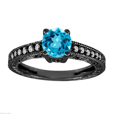 Blue Topaz & Diamond Engagement Ring, Blue Topaz Wedding Ring, 14K Black Gold 1.14 Carat Antique Vintage Style Engraved Handmade Unique