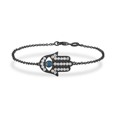 Vintage Hamsa Bracelet, Diamond Hamsa Bracelet, Blue Diamond Evil Eye Bracelet, 14K Black Gold 0.93 Carat Unique Handmade