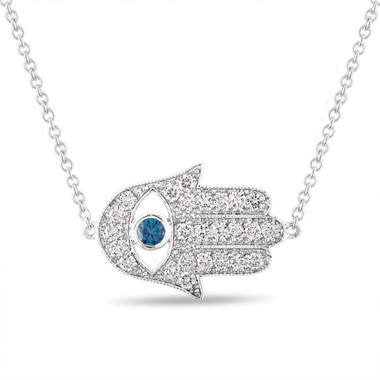 Diamond Hamsa Pendant, Hamsa Necklace, Large Evil Eye Pendant, 0.93 Carat 14K White Gold Unique Handmade Pave Certified