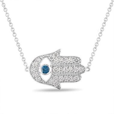 Diamond Hamsa Pendant, Hamsa Necklace, Large Evil Eye Pendant, 0.93 Carat 14K White Gold Unique Handmade Pave Certified