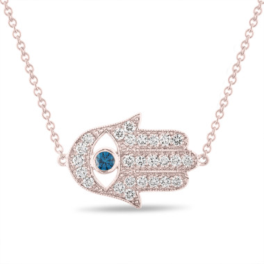 Diamond Hamsa Pendant, Hamsa Necklace, Large Evil Eye Pendant, 0.93 Carat 14K Rose Gold Unique Handmade Pave Certified