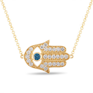 Diamond Hamsa Pendant, Hamsa Necklace, Large Evil Eye Pendant, 0.93 Carat 14K Yellow Gold Unique Handmade Pave Certified