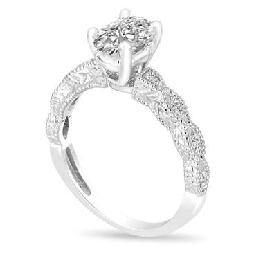 Platinum Oval Diamond Engagement Ring, Vintage Engagement Ring, 1.09 Carat GIA Certified