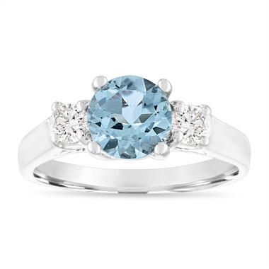 1.45 Carat Aquamarine Engagement Ring, Three Stone Engagement Ring, Aquamarine & Diamonds Wedding Ring, 14K White Gold