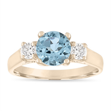 1.45 Carat Aquamarine Engagement Ring, Three Stone Engagement Ring, Aquamarine & Diamonds Wedding Ring, 14K Yellow Gold