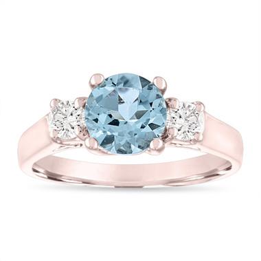 Aquamarine Engagement Ring Rose Gold, Three Stone Engagement Ring, Aquamarine & Diamonds Wedding Ring, 1.45 Carat Handmade