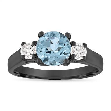 Aquamarine Engagement Ring, Three Stone Vintage Engagement Ring, 1.45 Carat Aquamarine & Diamonds Wedding Ring, 14K Black Gold