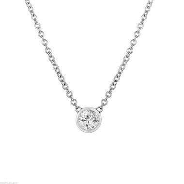 0.50 Carat Solitaire Diamond Pendant Necklace, Diamond By The Yard Necklace, 14k White Gold G VS2 Handmade Low Bezel Set GIA Certified