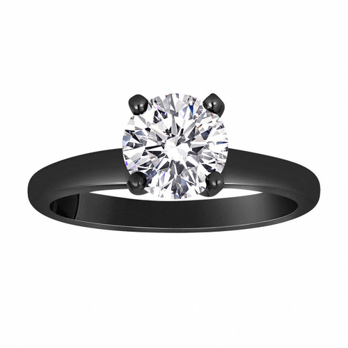 G VS1 Diamond Engagement Ring, Solitaire Vintage Engagement Ring, 14K Black Gold GIA Certified 0.50 Carat Handmade