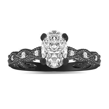 Vintage Oval Diamond Engagement Ring, 1.09 Carat Diamond Wedding Ring, GIA Certified 14K Black Gold