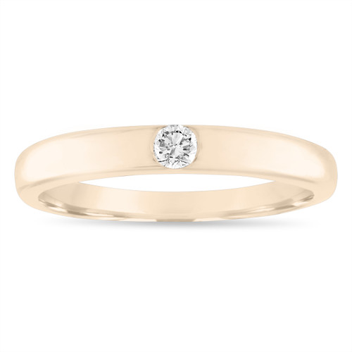 Diamond Wedding Band 14K Yellow Gold, 0.10 Carat Diamond Wedding Ring, Womens Wedding Band, 3 mm Anniversary Ring, Handmade