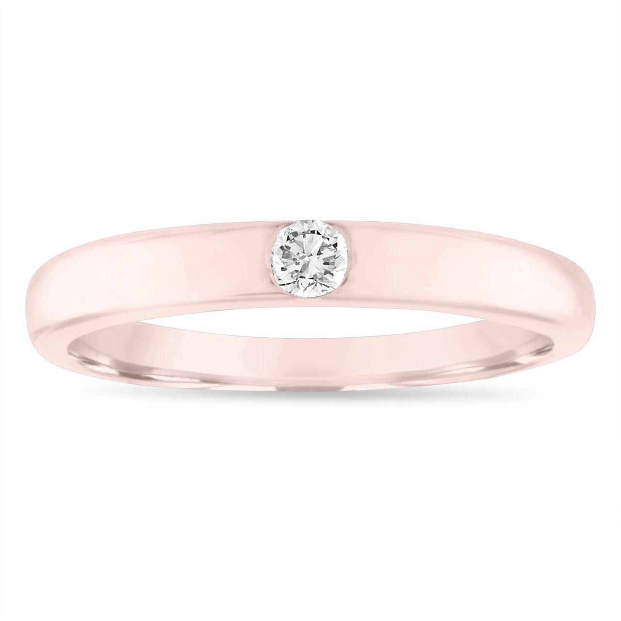 Rose Gold Wedding Band.Rose Gold Diamond Wedding Band 0 10 Carat Diamond Wedding Ring Womens Solitaire Engagement Ring 3 Mm Anniversary Ring Handmade