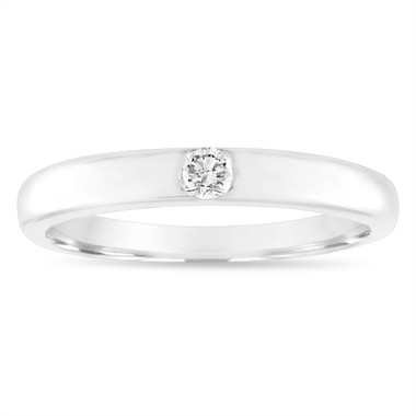 Diamond Wedding Ring, Diamond Wedding Band, 3 mm Anniversary Ring, 0.10 Carat 18K White Gold Handmade
