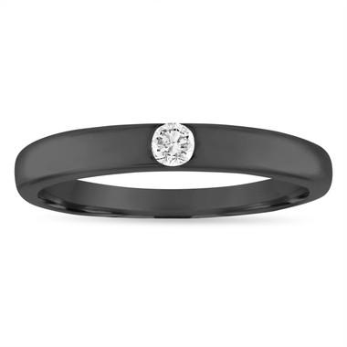 Vintage Diamond Wedding Ring, Diamond Wedding Band, 3 mm Anniversary Ring, 0.10 Carat 18K Black Gold Handmade
