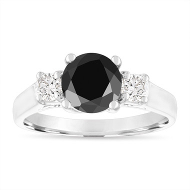 2.00 Carat Black Diamond Engagement Ring, Black & White Diamond Three Stone Engagement Ring, 14K White Gold Certified