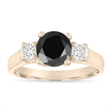 2.00 Carat Black Diamond Engagement Ring, Black & White Diamond Three Stone Engagement Ring, 14K Yellow Gold Certified