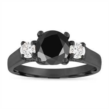 Vintage Black Diamond Engagement Ring, 2.00 Carat Black & White Diamond Three Stone Engagement Ring, 14K Black Gold Certified
