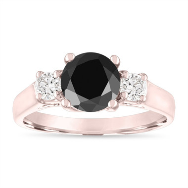 Black Diamond Engagement Ring Rose Gold, Three Stone Engagement Ring, 2.00 Carat Certified