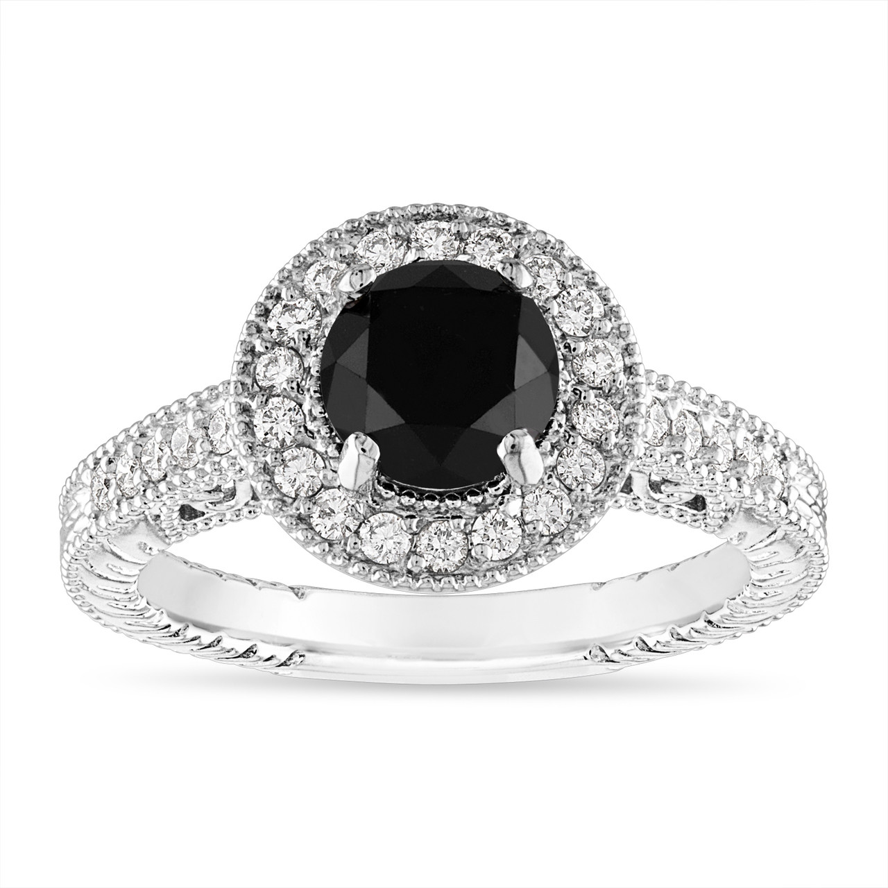 1 48 Carat Black Diamond Engagement Ring Vintage Wedding Ring Halo Pave 14k White Gold Certified Handmade Unique