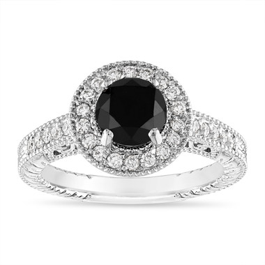 1.48 Carat Black Diamond Engagement Ring, Vintage Wedding Ring, Halo Pave 14K White Gold Certified Handmade Unique