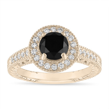 1.48 Carat Black Diamond Engagement Ring, Vintage Wedding Ring, Halo Pave 14K Yellow Gold Certified Handmade Unique