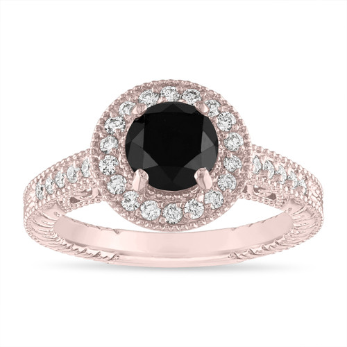 Rose Gold Black Diamond Engagement Ring, 1.48 Carat Vintage Diamond Wedding Ring, Halo Pave Certified Handmade Unique