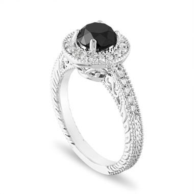 18K White Gold Black Diamond Engagement Ring, Halo Engagement Ring, Vintage Wedding Ring 1.48 Carat Certified Handmade Unique