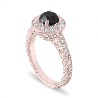 Rose Gold Black Diamond Engagement Ring, Halo Engagement Ring, Vintage Wedding Ring 1.48 Carat Certified Handmade Unique