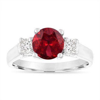 1.80 Carat Garnet Engagement Ring, Three Stone Engagement Ring, Garnet and Diamonds Wedding Ring, 14K White Gold Birthstone Certified