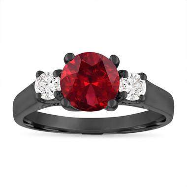 Vintage Garnet Engagement Ring, Three Stone Engagement Ring, 1.80 Carat Garnet and Diamonds Wedding Ring 14K Black Gold Birthstone Certified