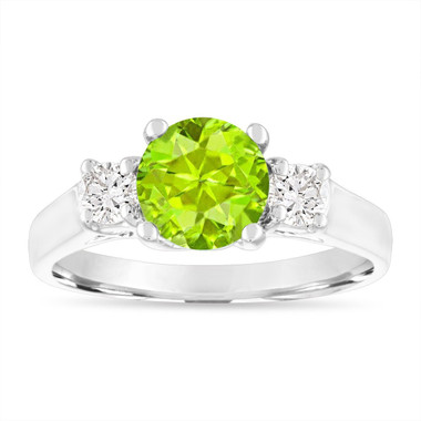 1.55 Carat Peridot Engagement Ring, Three Stone Engagement Ring, Peridot and Diamonds Wedding Ring, 14K White Gold Birthstone Certified